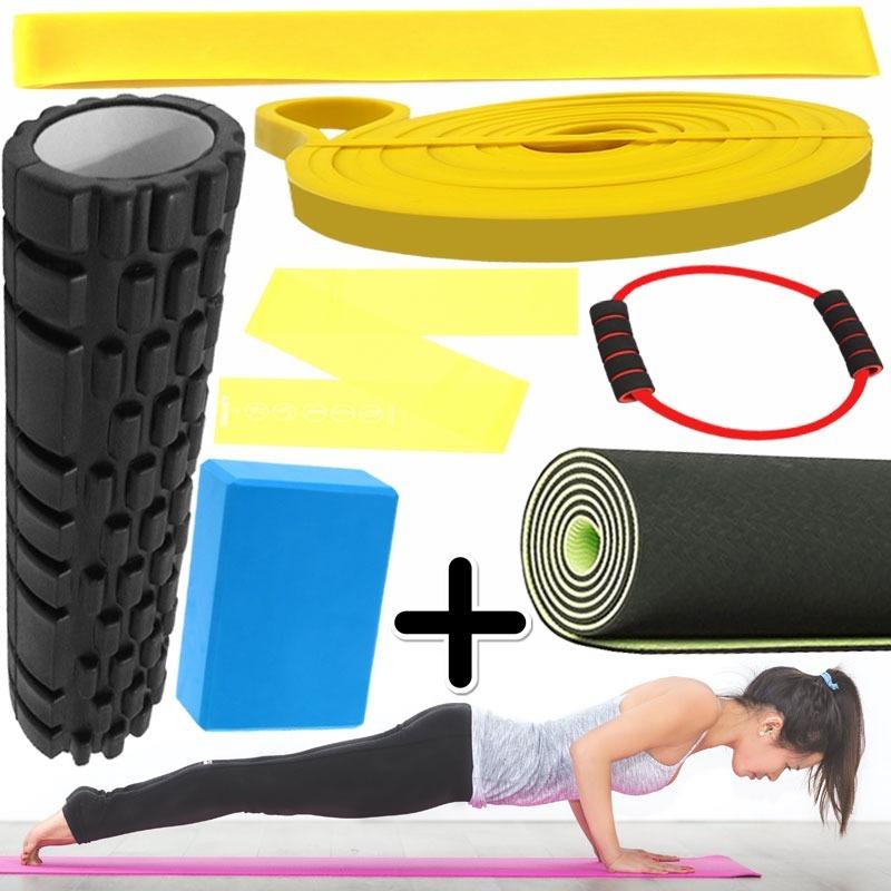 Kit Fitness Mat Yoga + Ladrillo + Rolo + 4 Banda Elastica -   1.809 ... 7ac3a4d3c6ee