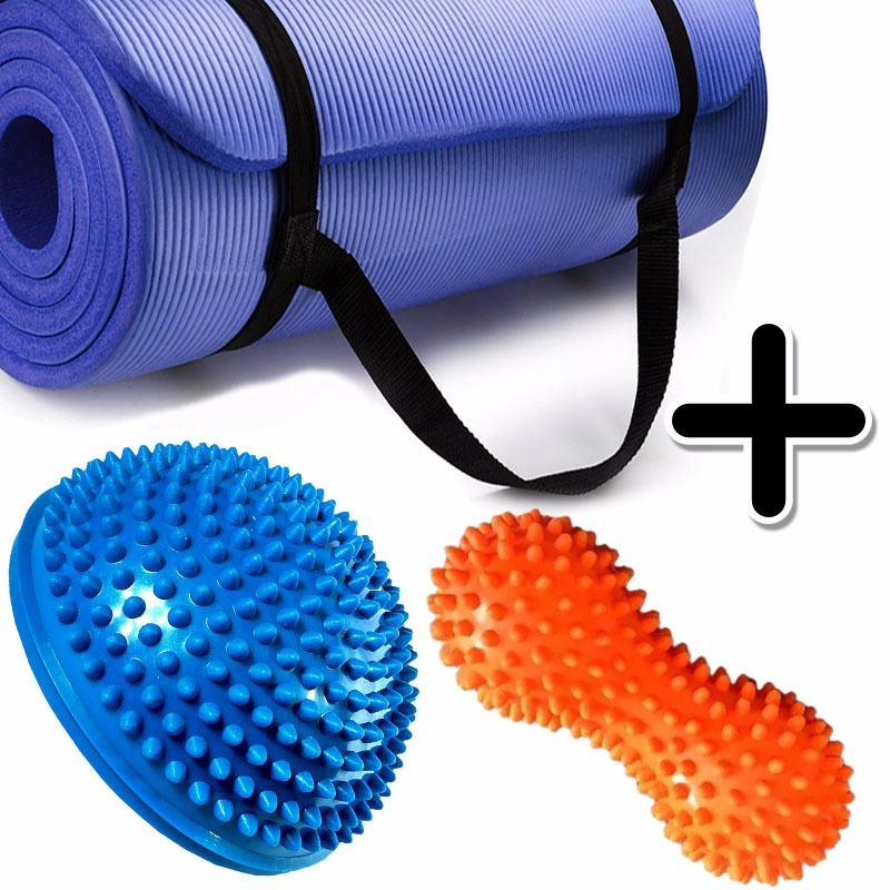 Kit Fitness Mat Yoga Pilates + Mini Bosu + Pelota Mani Picos -   569 ... b10003182297