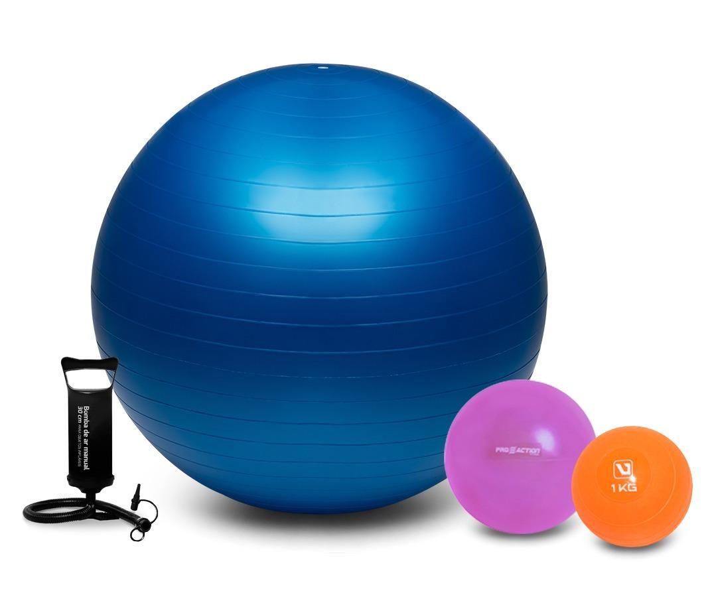 Kit Fitness Pilates Bola Suíça 65cm + Overball + Softball 1k 369149df5ba5
