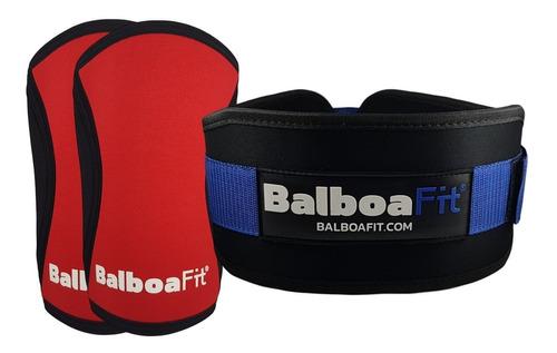 kit fitness rodilleras neoprene cinturón balboafit