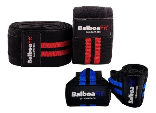 kit fitness vendas rodillas muñequeras balboafit crossfit