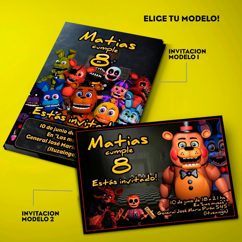 kit five nights at freddy's invitaciones, stickers, banderín