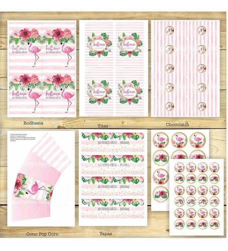 kit flamencos flores acuarela cumpleaños - imprimible