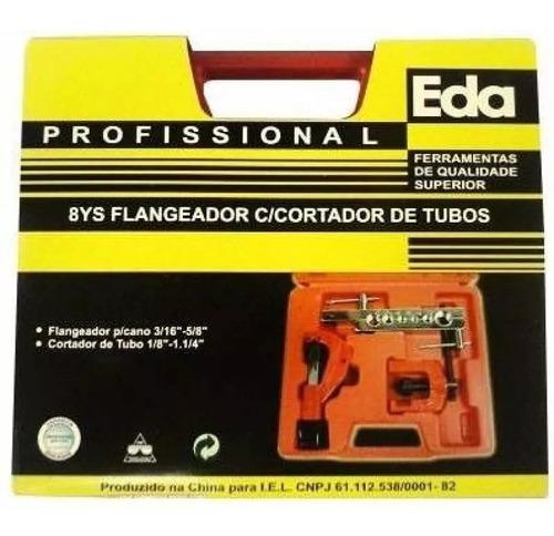 kit flangeador e cortador de tubos cobre e pvc eda-8ys