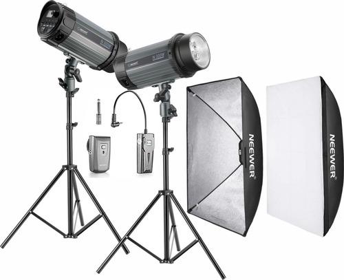 kit flash de estudio 600w (2x300w) con transmisor incluido