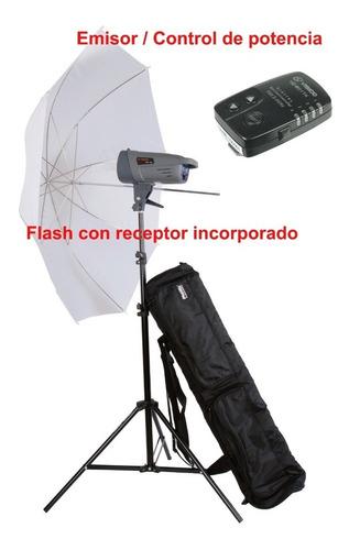 kit flash estudio 300w visico sombrilla tripode emisor bolso