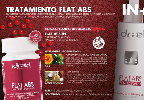 kit flat abs capsulas vientre plano + gel reductor idraet