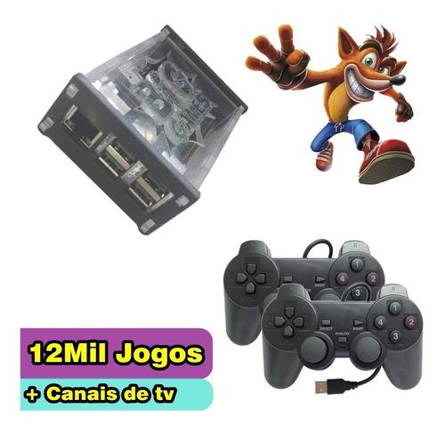 kit fliperama + 12 mil jogos + filmes + tv 2 controles  novo