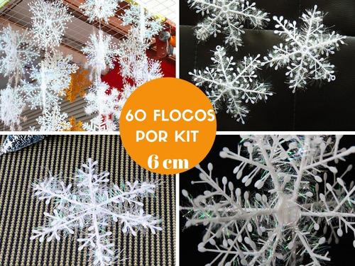 kit flocos de neve 3d decoração festa frozen gelo natal 6cm