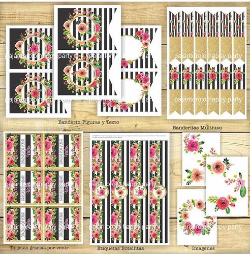 kit flores blanco y negro- quince años- cumpleaños- imprimib