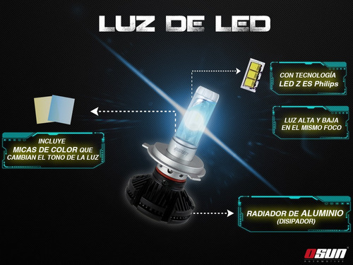 kit focos led osun x3 philips 35w luz alta/baja h4 9007 h13