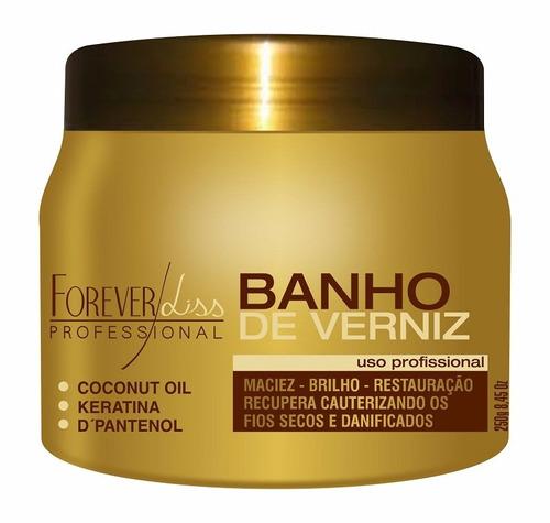 kit forever liss banho de verniz 250gr + queratina +shampoo