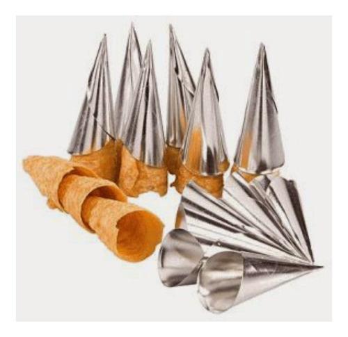 kit forma canudo/cônico aço inox com 6 peças unyhome