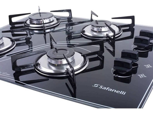 kit forno de embutir 45l + cooktop 4 bocas preto safanelli