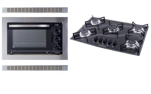 kit forno de embutir 45l + cooktop 5 bocas preto safanelli