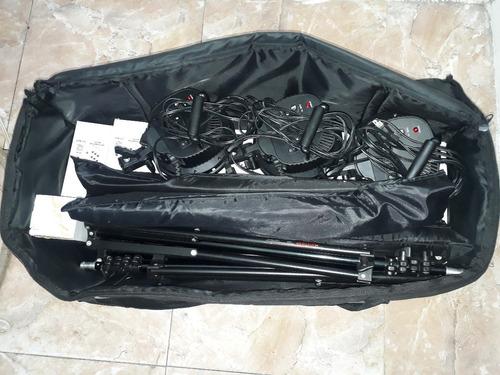 kit fotografia 3 softbox profesional portatil 5 bombillos