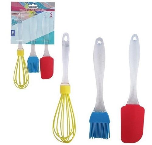 kit fouet pincel espátula em silicone p/ cozinha utensílios