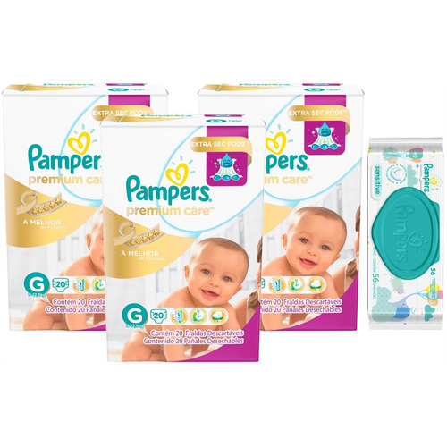 kit fralda pampers premium care g 60 + toalhinhas sensitive