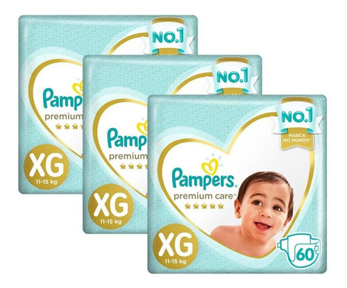 kit fralda pampers premium care jumbo xg 180 unidades