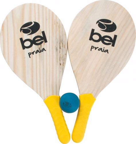 kit frescobol 2 raquetes d praia + 1 bola nº3 + bolsa transp