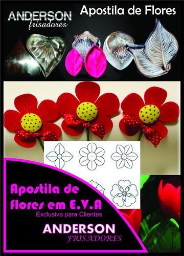kit frisador de flores eva em alumínio 8 peças + apostila