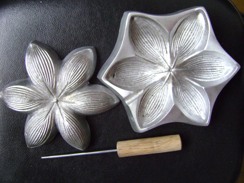 kit frisador flores eva em alumínio 4 peças + apostila a