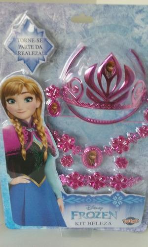 kit frozen personagem ana , coroa bracelete colar brincos