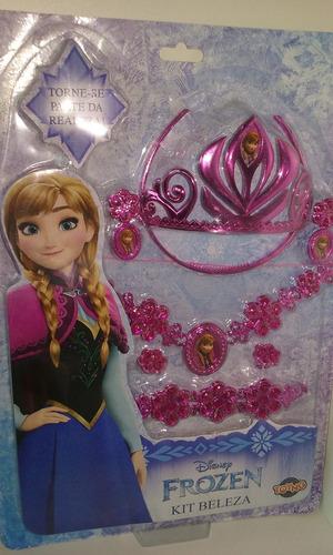 kit frozen personagem ana , coroa colar brincos bracelete