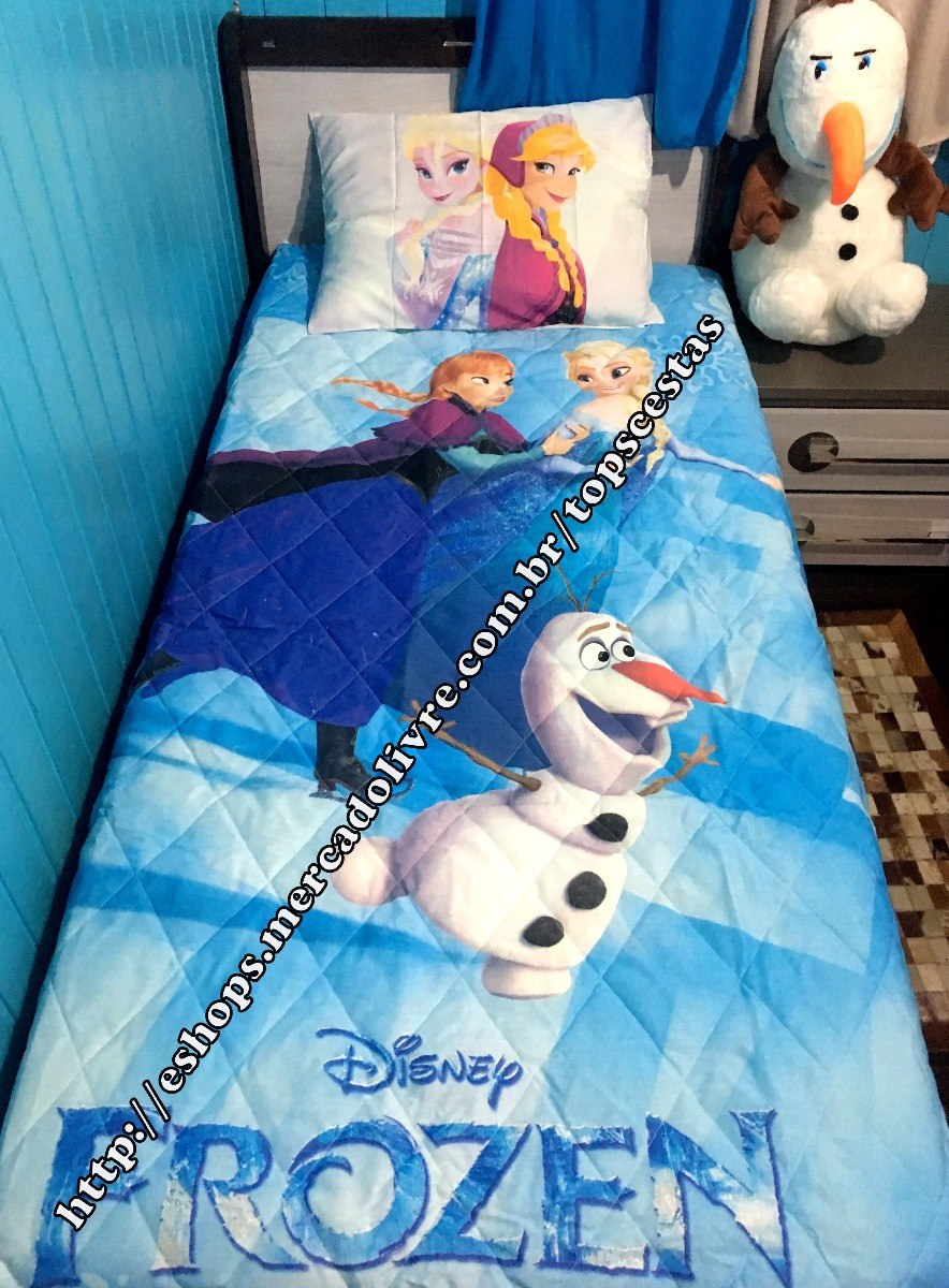 9757abcff1 kit frozen solteiro original   jogo cama 2 peças + colcha. Carregando zoom.