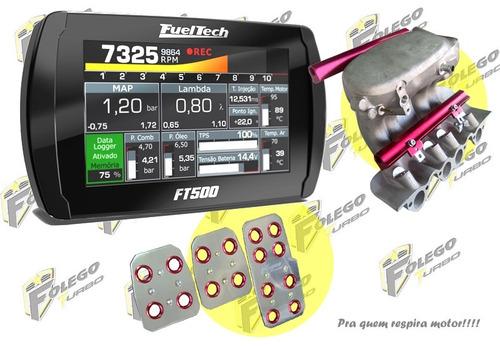 kit ft-500 + coletor adm ap mi 2 flautas + pedaleiras racing