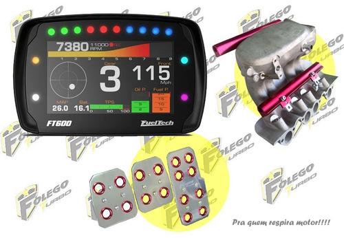 kit ft-600 + coletor adm ap mi 2 flautas + pedaleiras racing