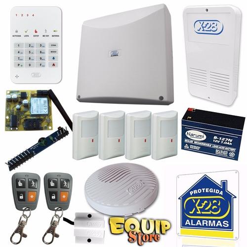 kit full alarma domiciliaria x-28 casa  celular sms gsm