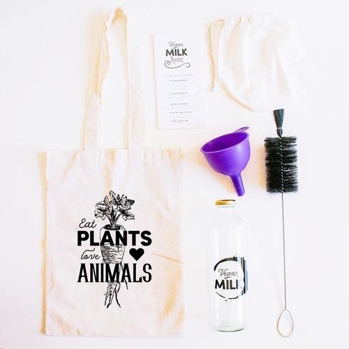 kit full botella vegan milk + embudo + cepillo + filtro