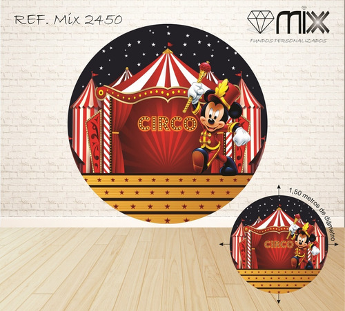 kit fundo fotográfico circo do mikey 2,20x1,50 e 1,50 diâmetro