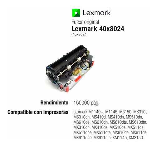 kit fusor 40x8024 lexmark original ms310 ms410 mx310 xm1145