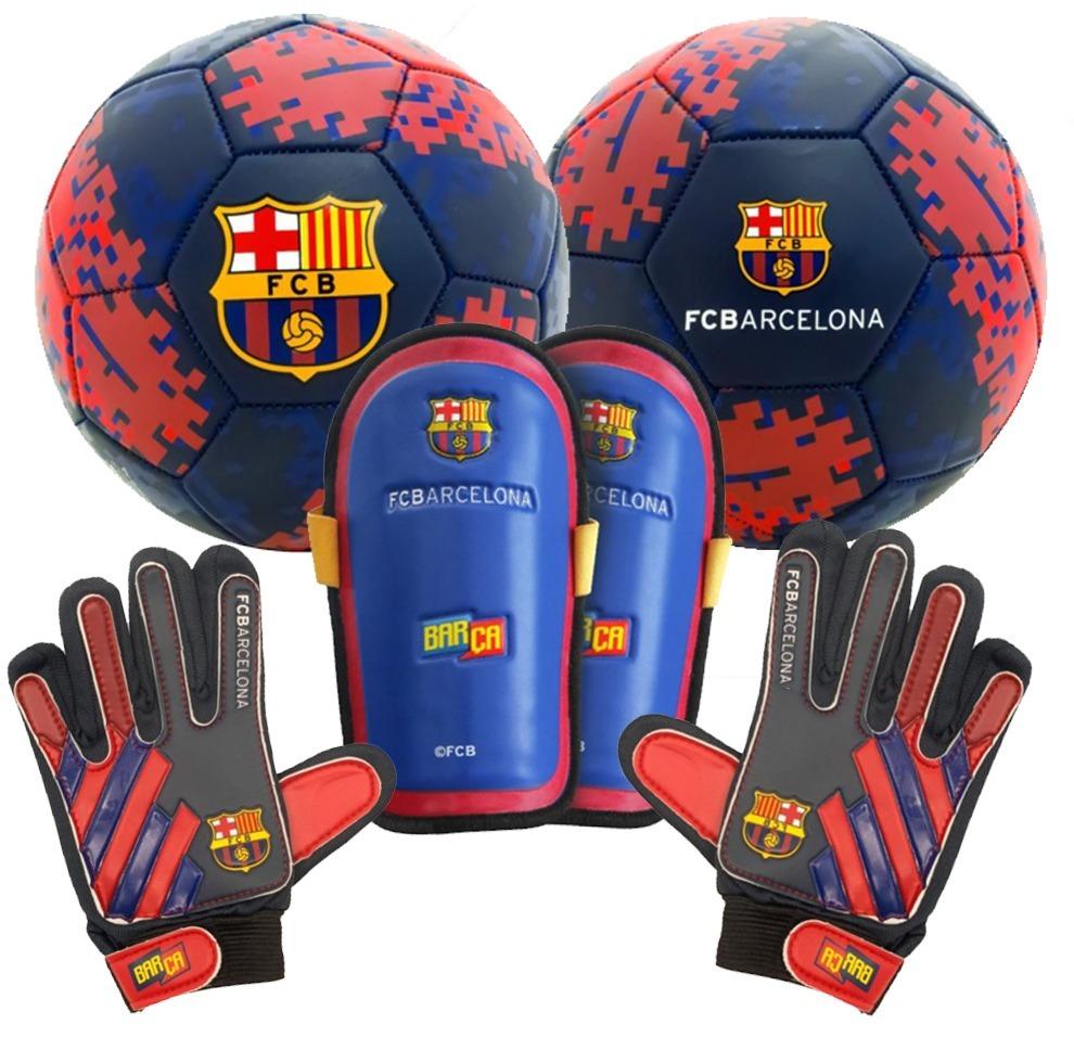 Kit Futbol Barcelona Oficial Guantes Canillera Pelota N5 -   940 3a5d0931219