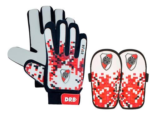 kit futbol river licencia oficial guantes arquero canilleras