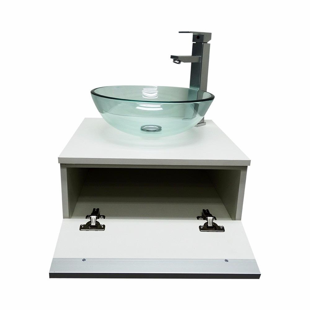 Kit Gabinete Banheiro + Cuba De Vidro + Misturador + Valvula  R$ 429,00 em M -> Cuba De Vidro Para Banheiro Em Bh
