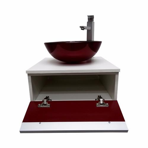 Kit Gabinete Banheiro + Cuba De Vidro + Misturador + Valvula  R$ 439,00 em M -> Cuba Para Banheiro Misturador