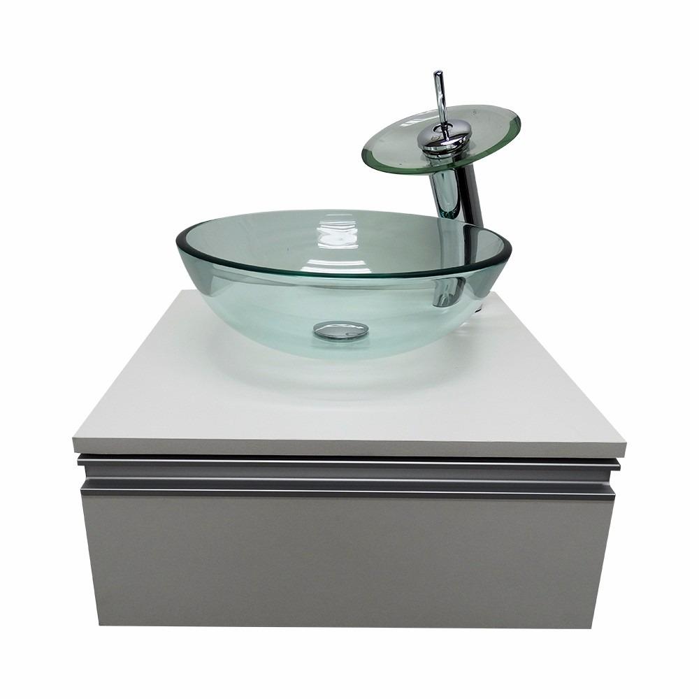 Kit Gabinete Banheiro + Cuba De Vidro + Misturador + Valvula  R$ 449,00 em M -> Cuba Para Banheiro Misturador