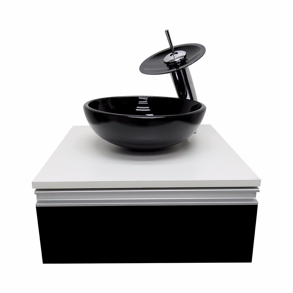 Kit Gabinete Banheiro + Cuba De Vidro + Misturador + Valvula  R$ 449,00 em M -> Cuba Banheiro Misturador