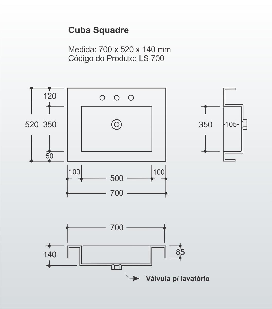 Kit Gabinete Banheiro Modelo Squadre Ks703 03 Peças R$ 749 00  #586873 1057 1200