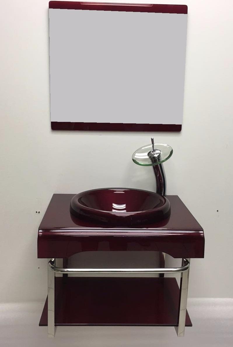 Kit Gabinete De Vidro Banheiro 60 Cm Vermelho + Misturador  R$ 848,00 em Mer -> Gabinete De Banheiro Vidro