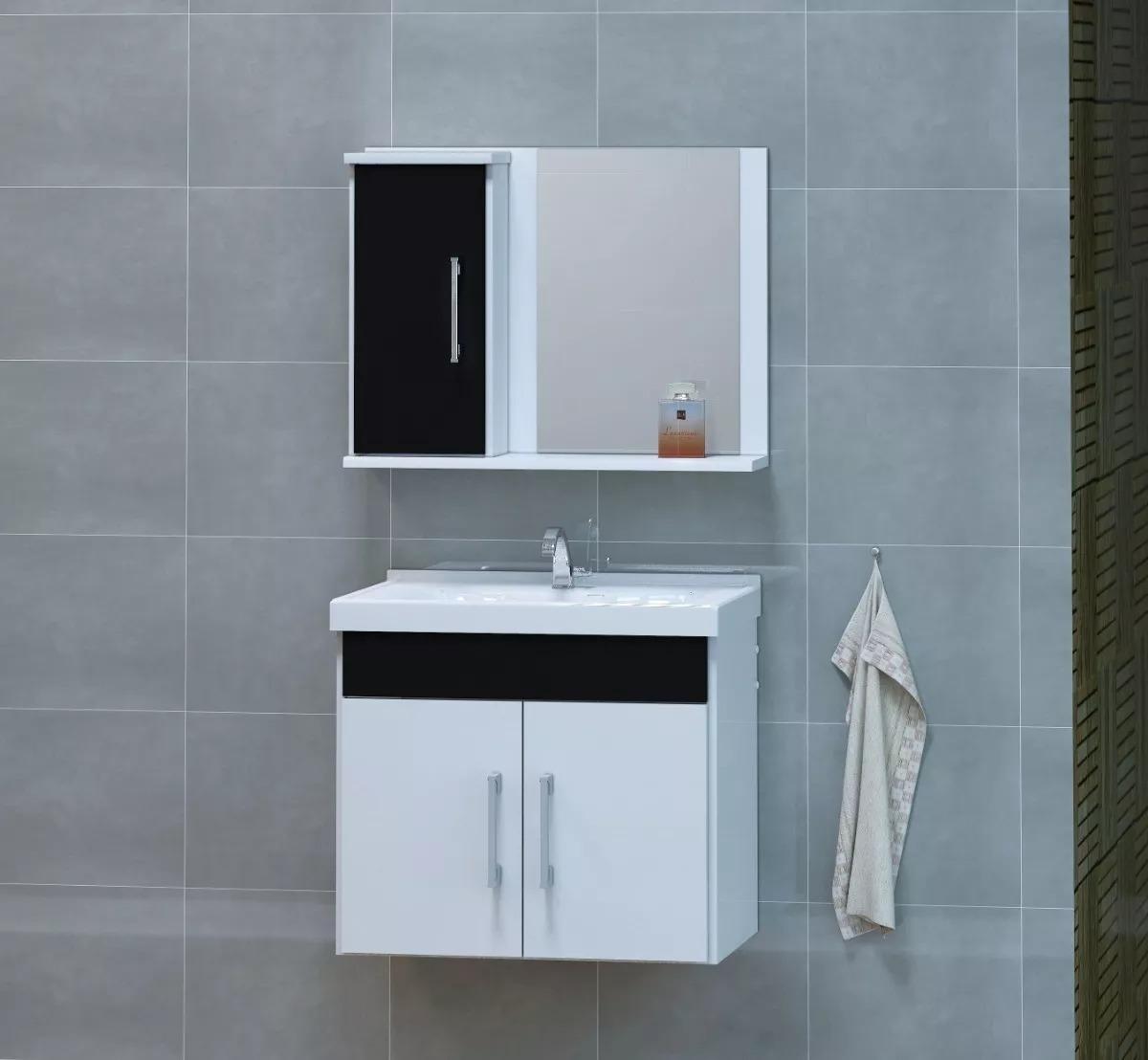 Kit Gabinete Dubai Banheiro Cuba Espelheira