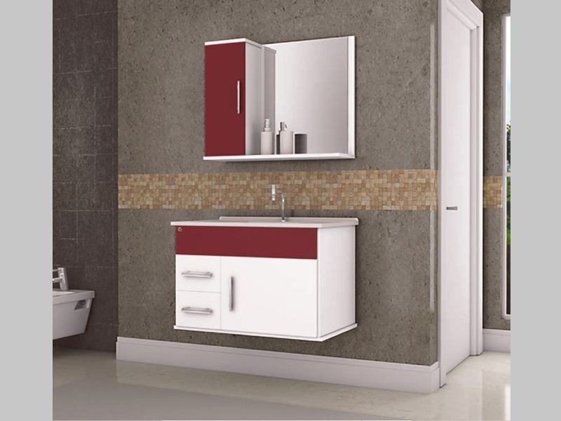 Kit Gabinete Para Banheiro Cuba Espelheira Modelo Arezzo