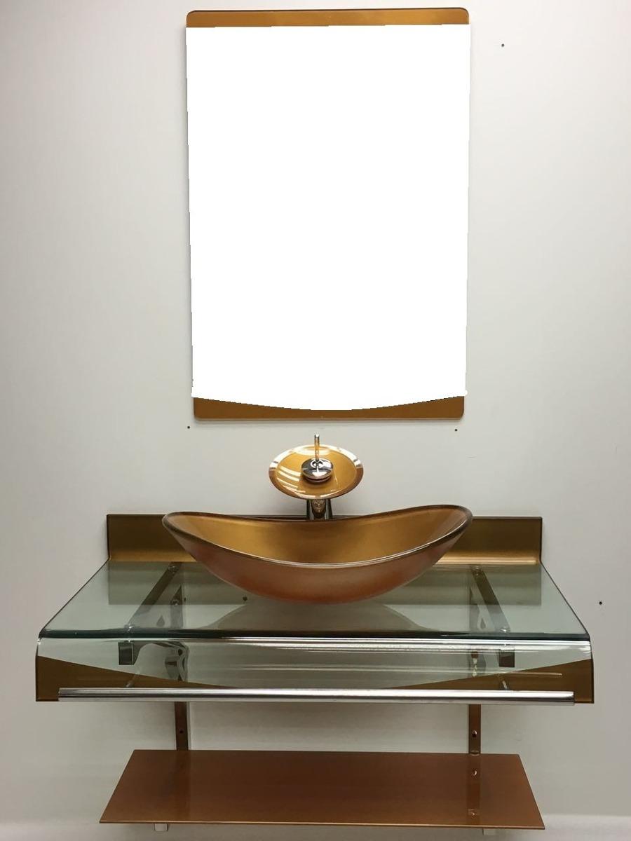 Kit Gabinete Vidro Cuba Oval + Misturador Cascata Dourado  R$ 1198,00 em Me -> Kit Armario De Banheiro Com Cuba