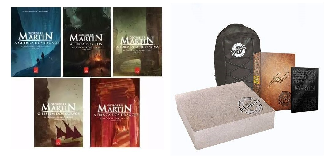 15e4093e8 Kit Game Of Thrones 5 Livros + Box Rretrospectiva Da Obra - R  539 ...