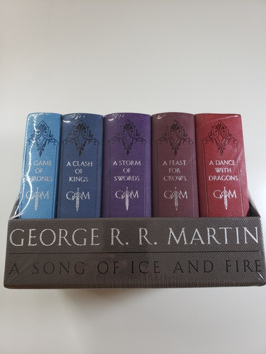 kit game of thrones - box em couro - 5 volumes em inglês