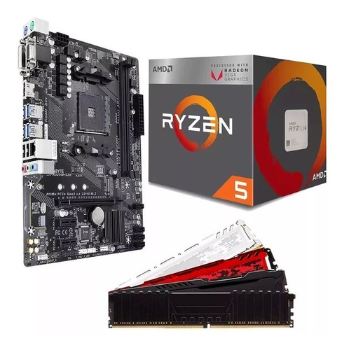 kit gamer amd ryzen 5 2400g + a320m + 2x4gb + fonte