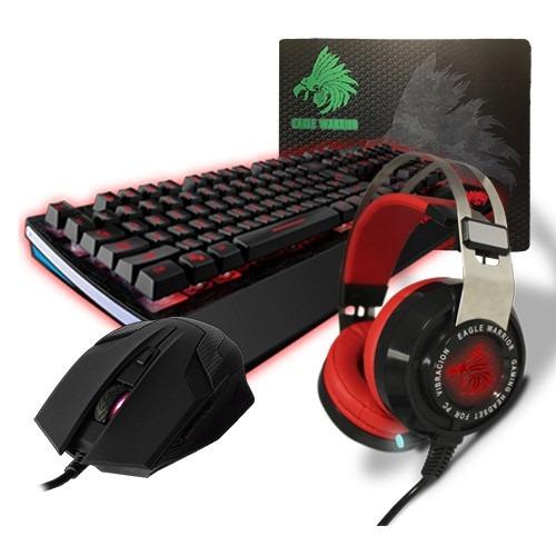 kit gamer eagle warrior wild beast + diadema raven +mousepad